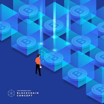 Blockchain- und kryptowährungstechnologie mit flachem designkonzept