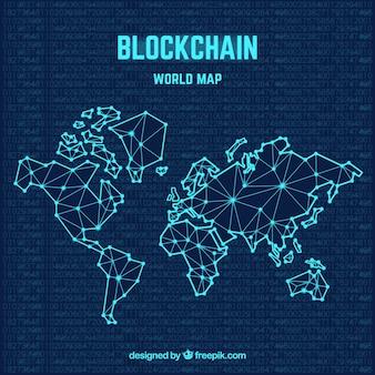 Blockchain weltkarte konzept