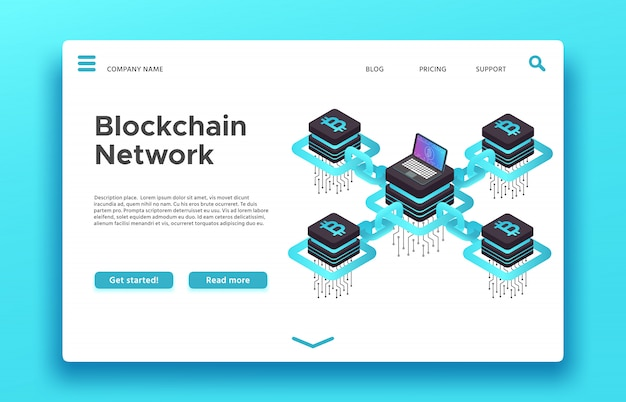Blockchain-zielseite. isometrisches cryptocurrency-mining-web