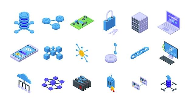 Blockkettensymbole gesetzt. isometrischer satz von blockchain-vektorsymbolen für webdesign isoliert auf weißem hintergrund