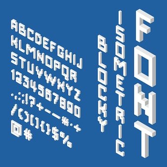 Blocky isometrische weiße schrift 3d englische alphabet buchstaben zahlen satzzeichen mathematische zeichen