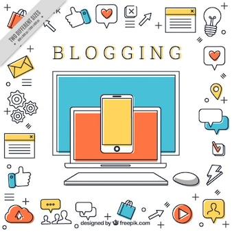 Blog-hintergrund mit symbolen in linearen stil
