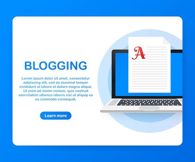 Blog-inhalt, bloggen, post-konzept für webseite, banner, präsentation, social media, dokumente. .