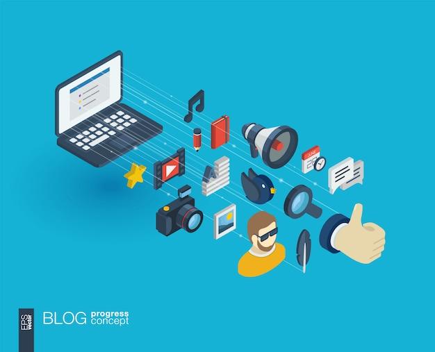 Blog integrierte web-icons. isometrisches fortschrittskonzept für digitale netzwerke. verbundenes grafisches linienwachstumssystem. hintergrund mit videoinhalten veröffentlichen, schreiben, follower. infograph