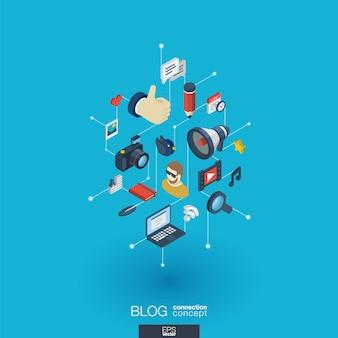 Blog integrierte web-icons. isometrisches interaktionskonzept für digitale netzwerke. verbundenes grafisches punkt- und liniensystem. hintergrund mit videoinhalten veröffentlichen, schreiben, follower. infograph