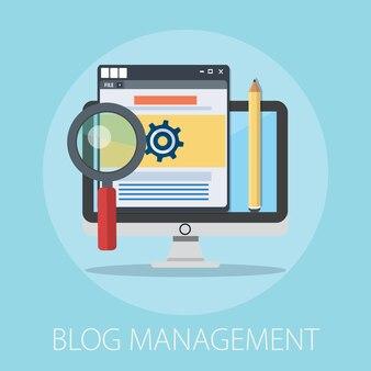 Blog-management-konzept isoliert auf blau