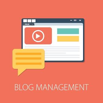 Blog-management-konzept isoliert auf rosa