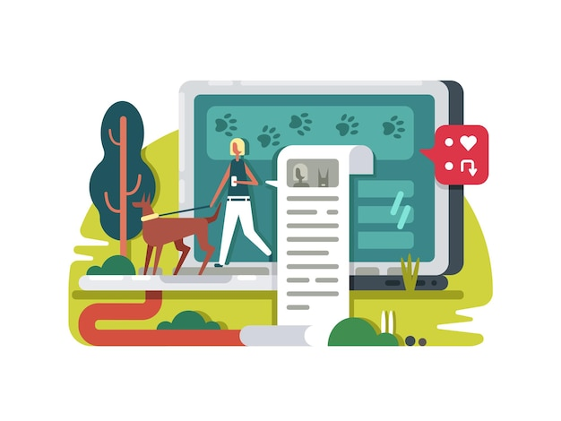 Bloggen über das leben im internet. schreibe einen blog für ein soziales netzwerk. vektorillustration