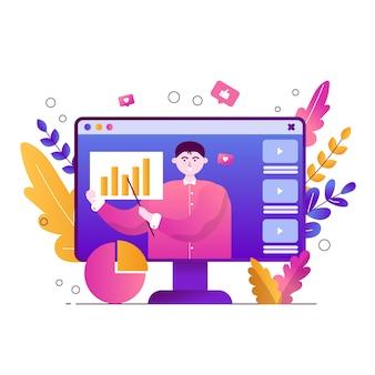 Blogger analysiert die grafik und zeichnet das video auf
