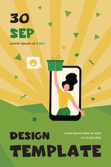 Blogger bekommt geschenk. mädchen zeigt geschenkbox von telefonbildschirm flache flyer-vorlage