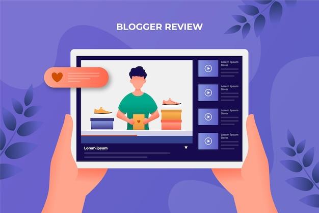 Blogger-bewertung auf dem tablet