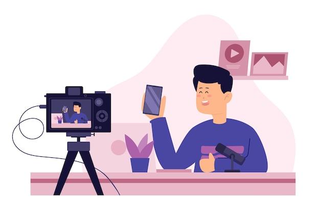 Blogger bewertung hält smartphone