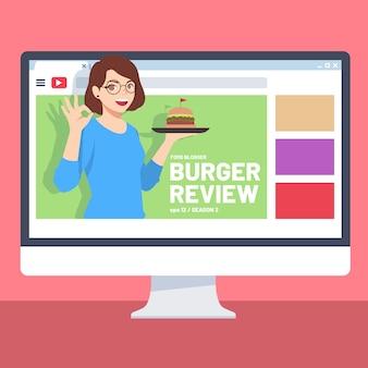 Blogger bewertung mit frau auf video