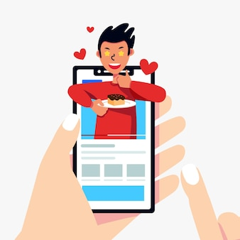 Blogger-bewertungskonzept mit smartphone
