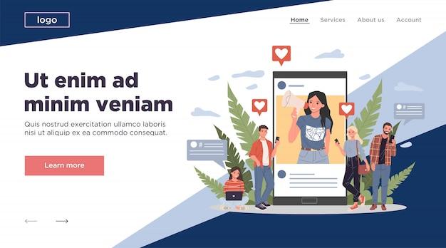 Blogger, der online für waren und dienstleistungen für follower wirbt