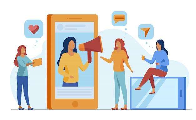 Blogger, der produkte oder dienstleistungen in sozialen medien bewirbt