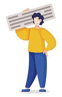 Blogger hat eine post-nachricht in ein blog eingefügt. mann arbeitet mit text. content management mann hält text, programmierer arbeiter