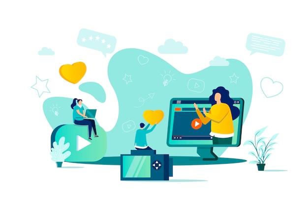 Blogger-konzept im stil mit personencharakteren in der situation