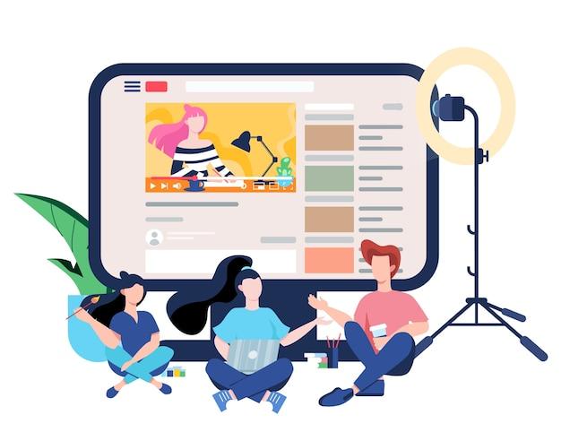 Blogger-konzept. sehen sie sich inhalte im internet an. idee von social media und netzwerk. onlinekommunikation. illustration