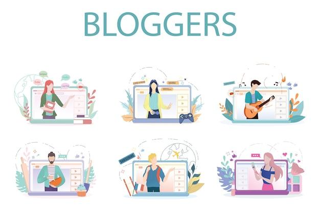 Blogger-konzeptillustration. inhalte im internet teilen.