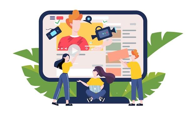 Blogger-konzeptillustration. sehen sie sich inhalte im internet an. idee von social media und netzwerk. onlinekommunikation. illustration