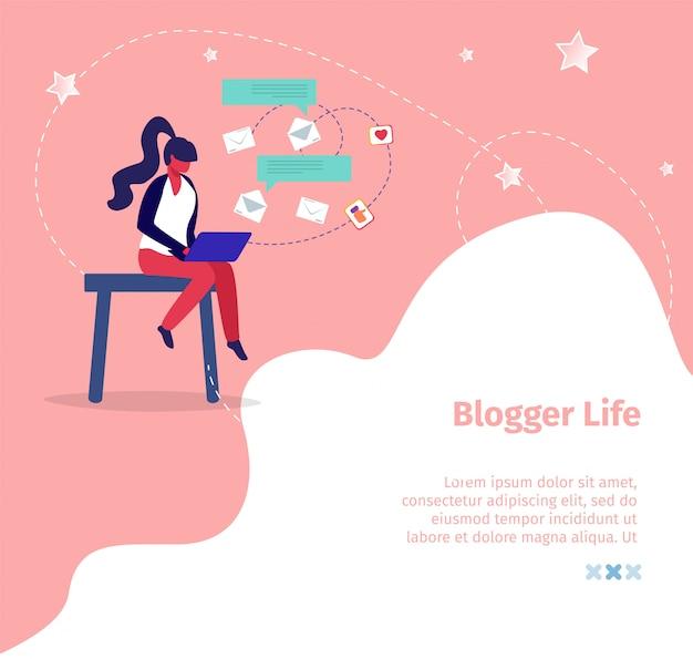 Blogger life square banner vorlage. junge frau, die eigenen blog überträgt
