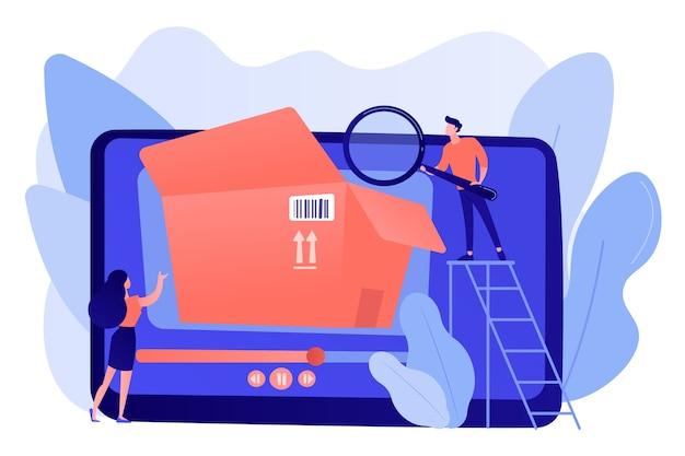 Blogger mit lupe schauen in die box mit neuem kaufvideo. unboxing-video, produktbewertungsvideo, inhaltskonzept für einkaufsgeräte
