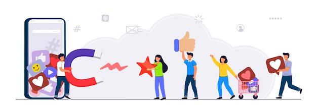 Blogger sammelt likes vector illustration flat style mit charakteren influencer marketing