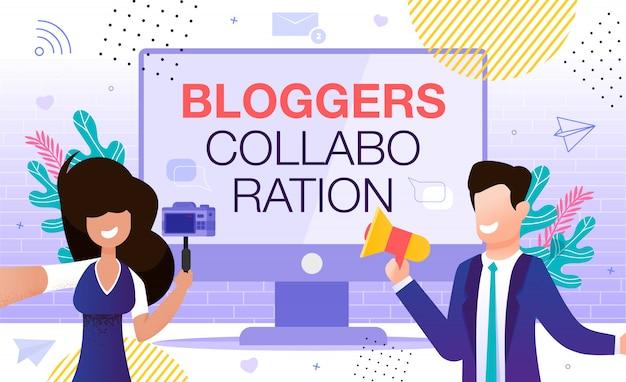 Blogger vlogger-zusammenarbeit in sozialen netzwerken