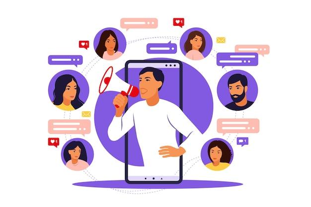 Blogger-werbedienste und waren für seine follower online
