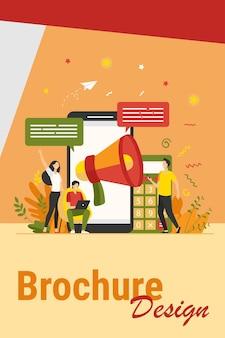 Blogger werben auf empfehlungen. junge leute mit geräten und lautsprechern, die nachrichten ankündigen und die zielgruppe anziehen. vektorillustration für marketing, werbung, kommunikationskonzept