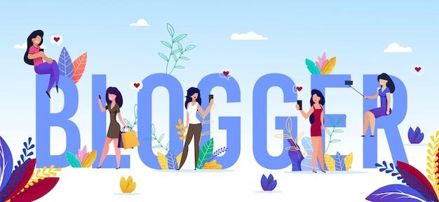 Blogger word aus großbuchstaben und tiny girls banner