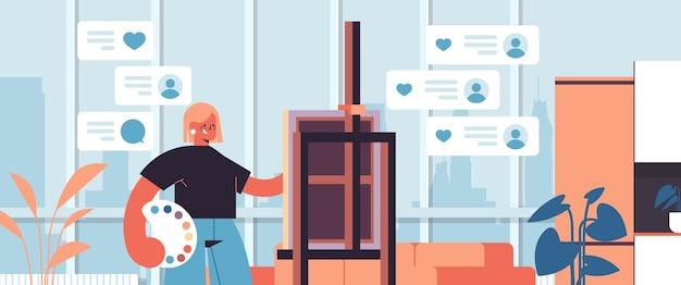 Bloggerin künstlerin malerei mädchen aufnahme online-video-blog live-streaming blogging vlog popularität konzept workshop kunststudio innen horizontales porträt
