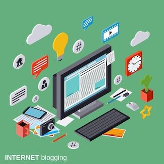 Blogging des internets, netzveröffentlichung, journalismus, konzept-illustration des vektors 3d des blogmanagements flache isometrische