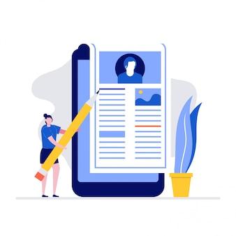 Blogging illustration konzept mit zeichen artikel auf smartphone schreiben.