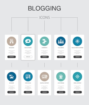 Blogging-infografik 10 schritte ui-design.social media, kommentare, blogger, einfache symbole für digitale inhalte