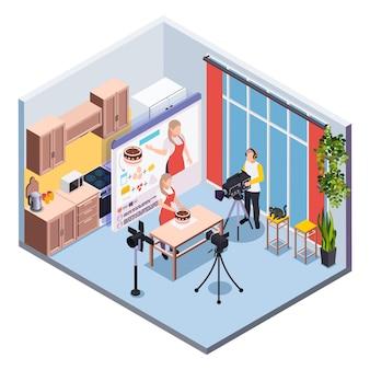 Blogging isometrische komposition mit betreiber und konditor, die eine kochshow im kücheninnenraum filmen