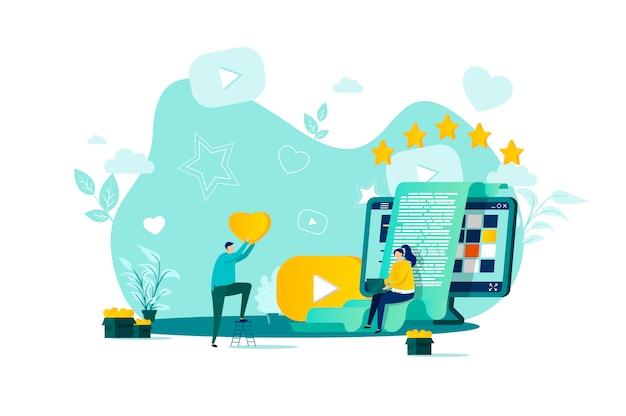 Blogging-konzept im stil mit personencharakteren in der situation