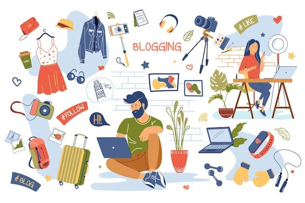 Blogging-konzept isolierte elemente gesetzt