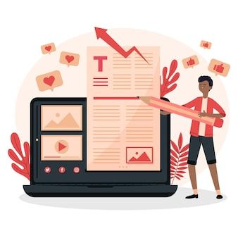 Blogging-konzept mit dem menschen