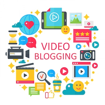 Blogging-konzeptillustration des videos