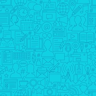 Blogging-linie nahtlose muster. vektor-illustration des kachelbaren hintergrundes.