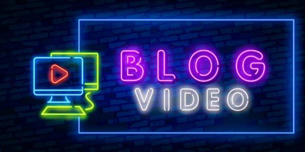 Blogging neonlogo, bunte tendenz des modernen designs des hellen fahnengestaltungselements, nachthelle werbung, helles zeichen.