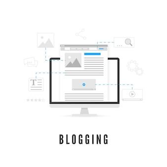 Blogging oder content production konzept. website-entwicklung auf dem pc-bildschirm aus verschiedenen elementen.