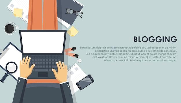 Blogging- und journalismuskonzept. schreib dir eine geschichte