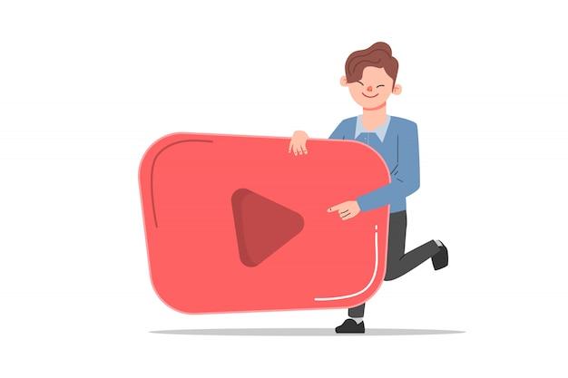 Blogging und social media networking-konzept. mann blogger character mit spielsymbol