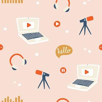 Blogging, vlogging und live-streaming-muster