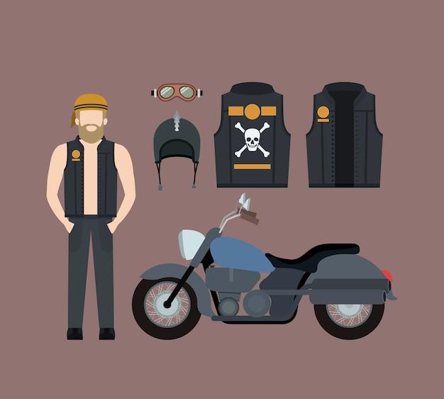 Blond motorradfahrer und klassische blaue motorrad-set