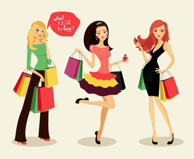 Blonde, brünette und rothaarige modeeinkaufsmädchen mit taschen und paketen in der hand, frohe einkäufe, vektorillustration