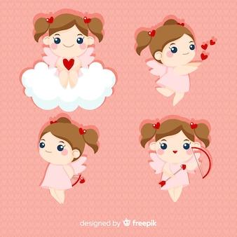 Blonde cherubin-valentinsgrußsammlung